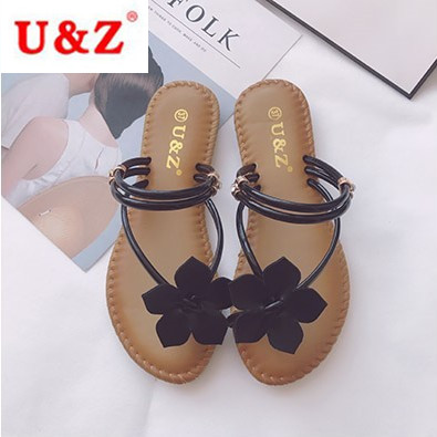6e624c59e Newest spring summer beach woman flowers soft slippers Black white ...
