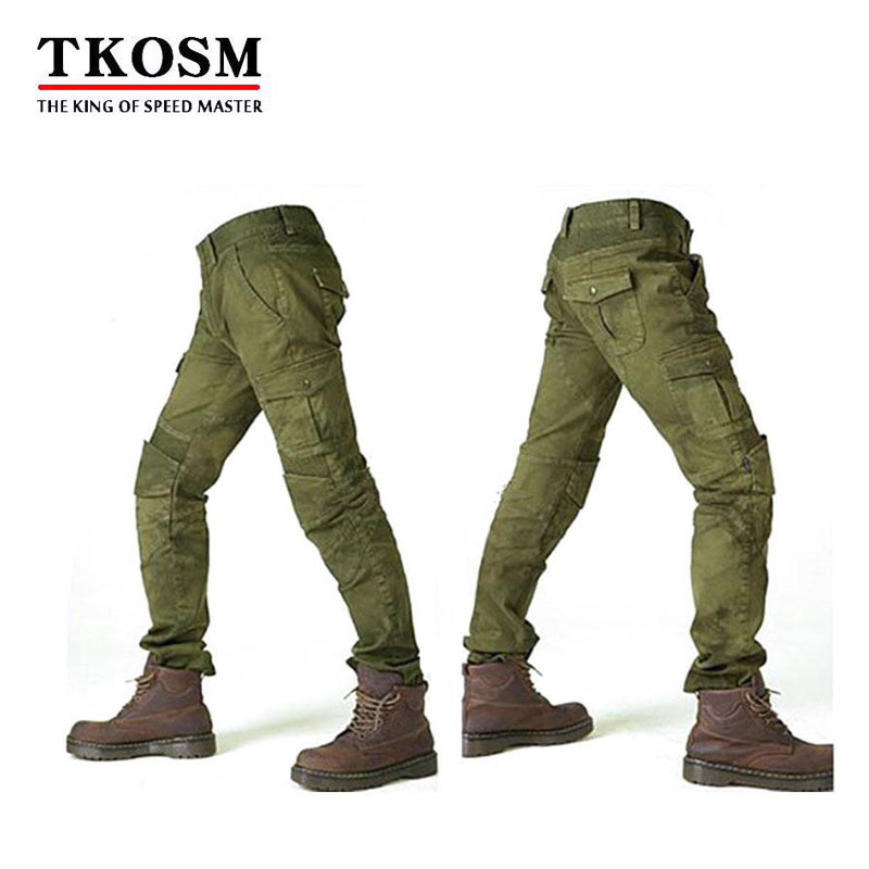 TKOSM Motorcycle Pants Moto Jeans Trousers Protective Gear Riding Racing Motorbike Dirt Bike Motocross Pants Pantalon Moto Pants tkosm motorcycle pants riding road motor windproof pants jeans men trousers racing windproof motorbike pants with knee pads