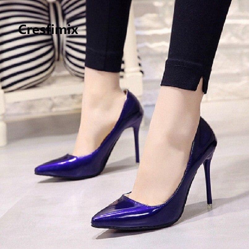cb1e01547 Женские модные милые туфли на высоком каблуке из искусственной кожи  высокого качества с острым носком,