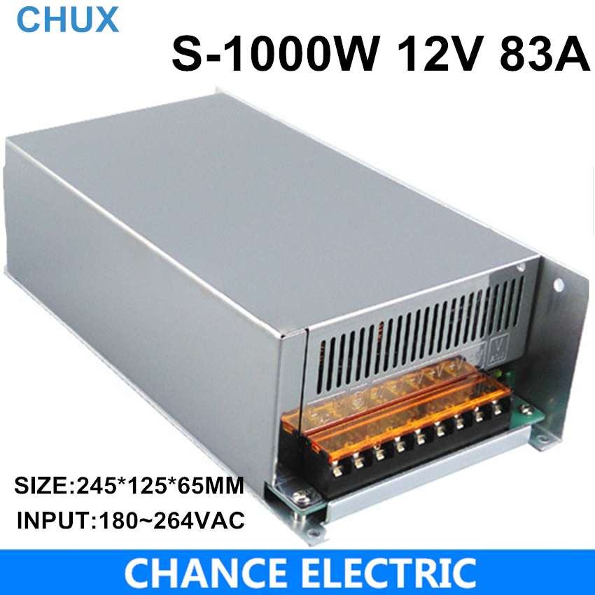 1000W 12V adjustable 83A Single Output Switching power supply AC to DC 110V or 220V 1pcs lot sh b17 50w 220v to 110v 110v to 220v