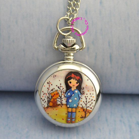 women drawing flower cute girl pocket watch necklace wholesale price good qualit