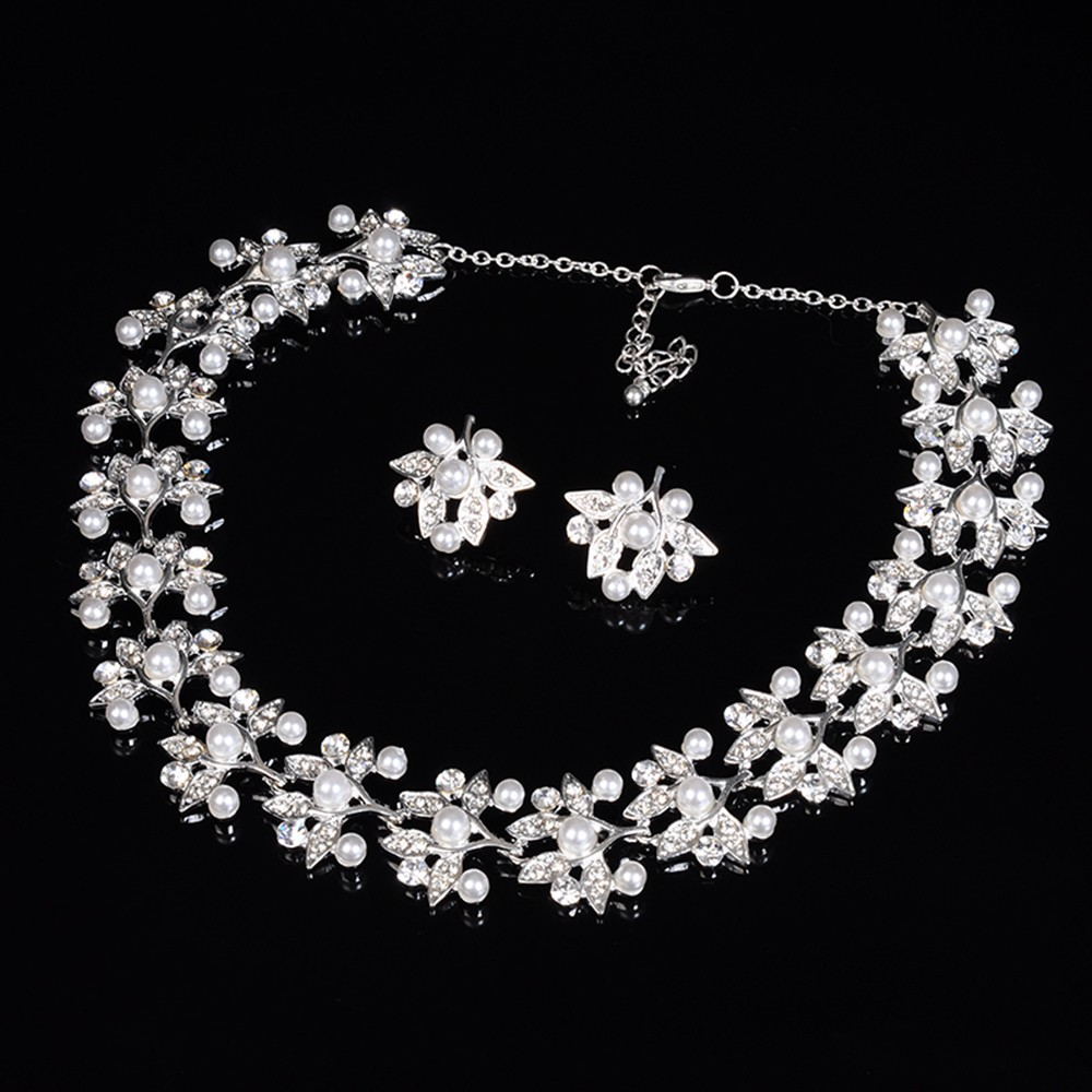 leaf flower links chain pearl necklace for women bridal jewelry set party silver plated wedding accessories opal jewels D032 (4)