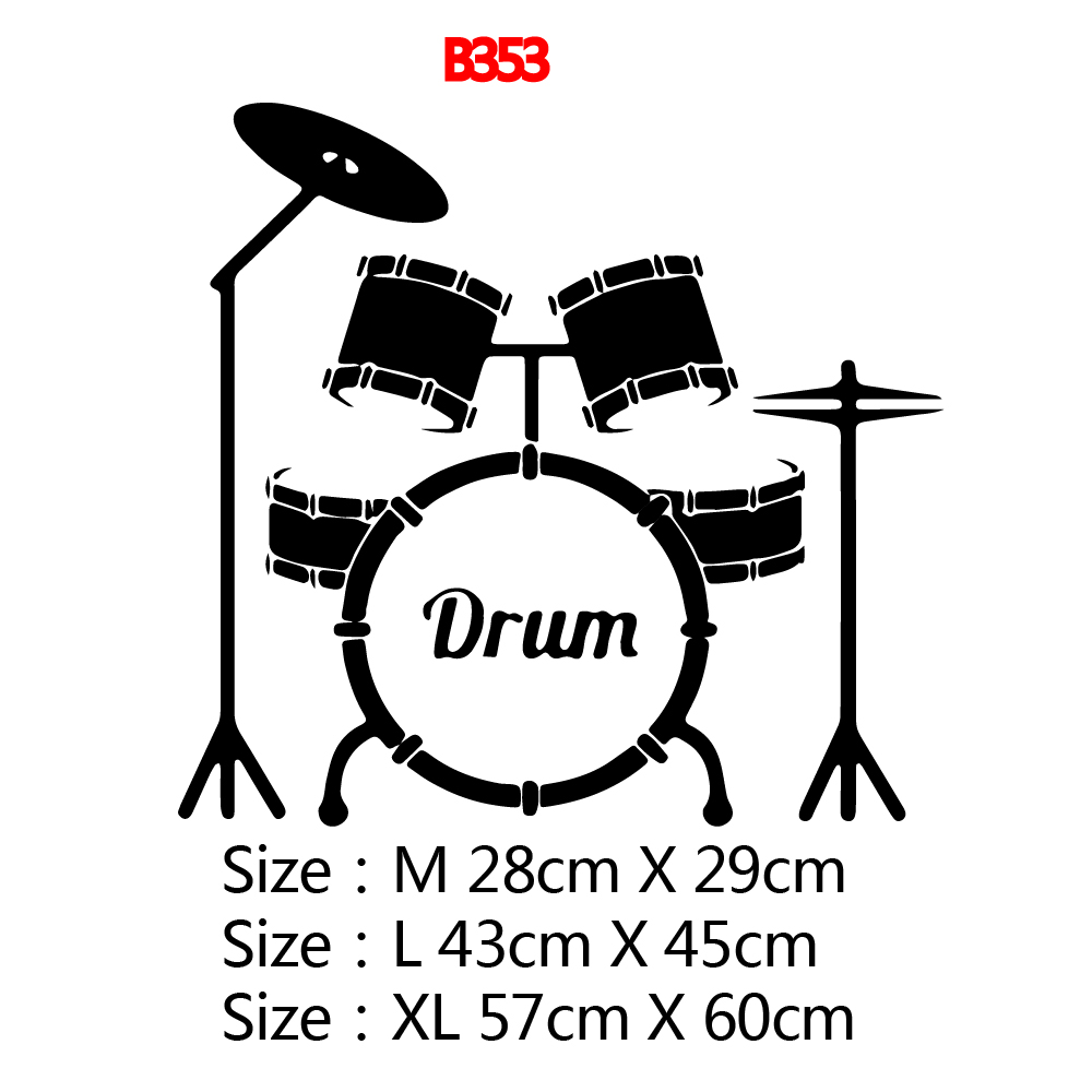 European Style Music Drum Wall Stickers Modern Fashion Wall Sticker For Boys Bedroom Decals removable mural in Wall Stickers from Home Garden