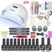 36w/48w/80w Led Uv Nail Lamp Kit for Manicure Set 12 Color Gel Nail Polish Varnish Set UV Extension Kit Acrylic Nails Art Tools