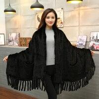 New Genuine Knitted Mink Fur Scarf Women Natural Mink Fur Shawl With Tassel Fashion Lady Winter black Brown Mink Fur Poncho