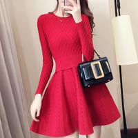 women knit dress false two pcs sets korean fashion head splicing knitting sweater dresses red black clothes long sleeve o neck