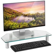 Solid Glass Corner Monitor Mount Computer Small TV Screen Display Riser Stand High Quality Laptop Stand Holder For Notebook