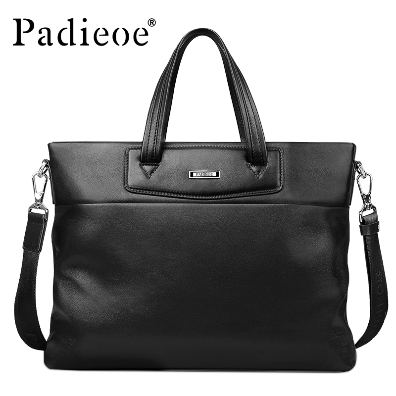 Padieoe Famous Brand Men's Briefcase Rucksack Genuine Leather Business Laptop Bag Casual Luxury Messenger Bag Hand Bag for Male