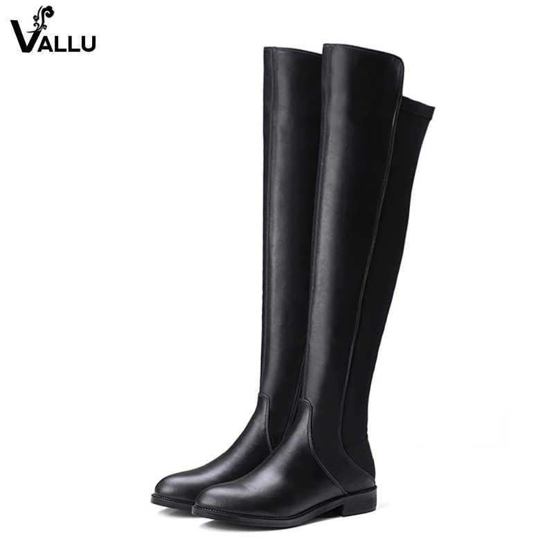 Europejski styl Sexy luksusowe buty damskie buty VALLU najpóźniej udo wysokie futro botki Lady Over the Knee damskie ciepłe miękkie buty