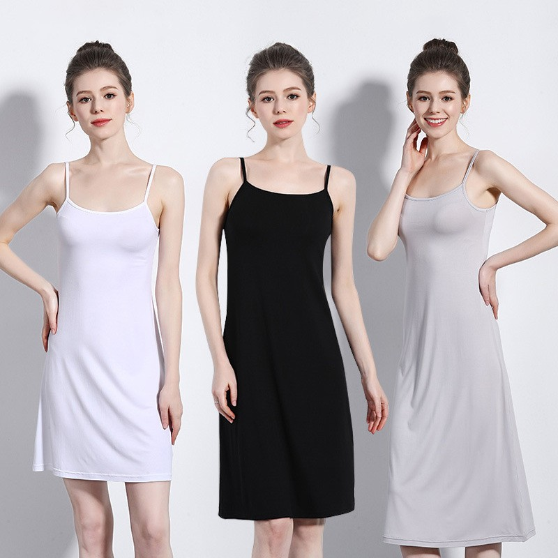 Women's Camisoles Full Slips Dress With Shoulder-straps Long Under Dress  Solid Underskirt Inner Petticoat Height 90 To 120cm