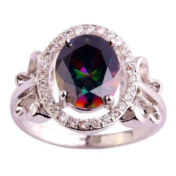 Lingmei оптовая круглый cut многоцветный cz серебряный цвет кольцо мода ювелирные изделия Размер 6 7 8 9 10 Бесплатная Доставка Сверкающие уникальный