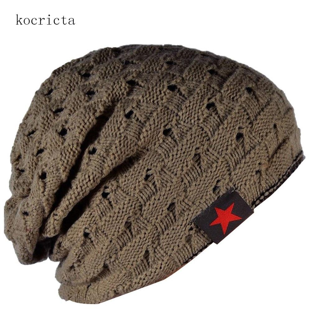 Men Winter Knitted Reversible Slouchy Beanie Hat for Male Skull Caps winter men