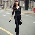 real photo high quality 20176 autumn fashion cute sexy patchwork lace high waist SML black V-neck woman's Casual long jumpsuits