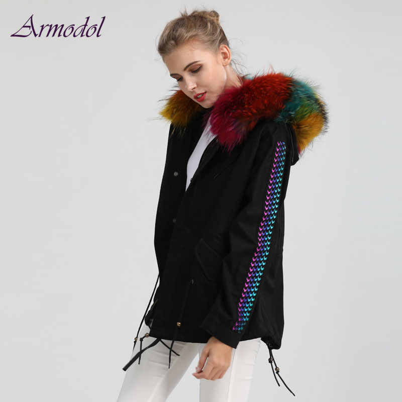 2017 New Spring and Fall   Basic     Jacket   New design Windcoat with Big Raccoon fur Collar Free shipping