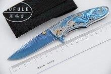 JUFULE original diseño Sirena plegable flipper cuchillo 9Cr18MoV lámina 440C de la manija de cocina cuchillos de caza que acampa EDC herramienta