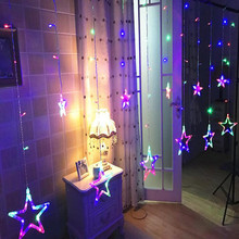 2018 LED String Star Light Curtains Garland Strip 138-leds Fairy Lights Home Window Decor Glow Party Christmas Navidad New Year