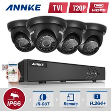 ANNKE 4CH Security System 1080N Video Recorder and (4) 1280TVL Weatherproof Surveillance Cameras with IR-Cut Built-in