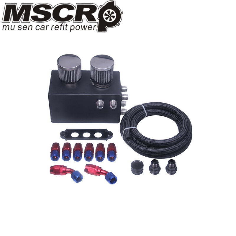 Image 3 - Universal Oil Catch Can Kit Breather Box for Honda Acura Turbo 4 Port-in Fuel Tank from Automobiles & Motorcycles