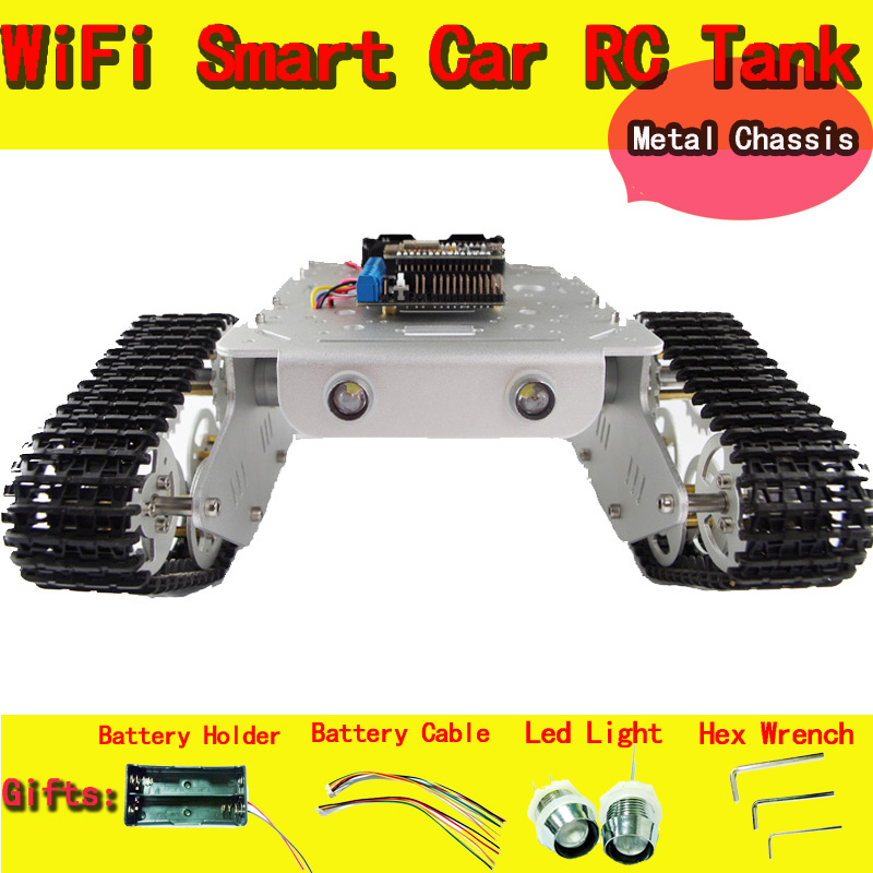 T300 RC WiFi Robot Tank Car Chassis Controlled by Android/iOS Phone based on Nodemcu ESP8266 Board+Motor Drive Shield DIY doit c300 smart robot car chassis controlled by android and ios phone based on nodemcu esp8266 4wd car diy android toy robot