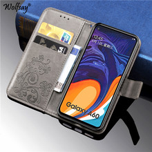 купить For Samsung Galaxy A60 Case Luxury Silicone Filp Wallet Phone Case For Samsung Galaxy A60 Back Cover For Samsung A60 Card Holder дешево