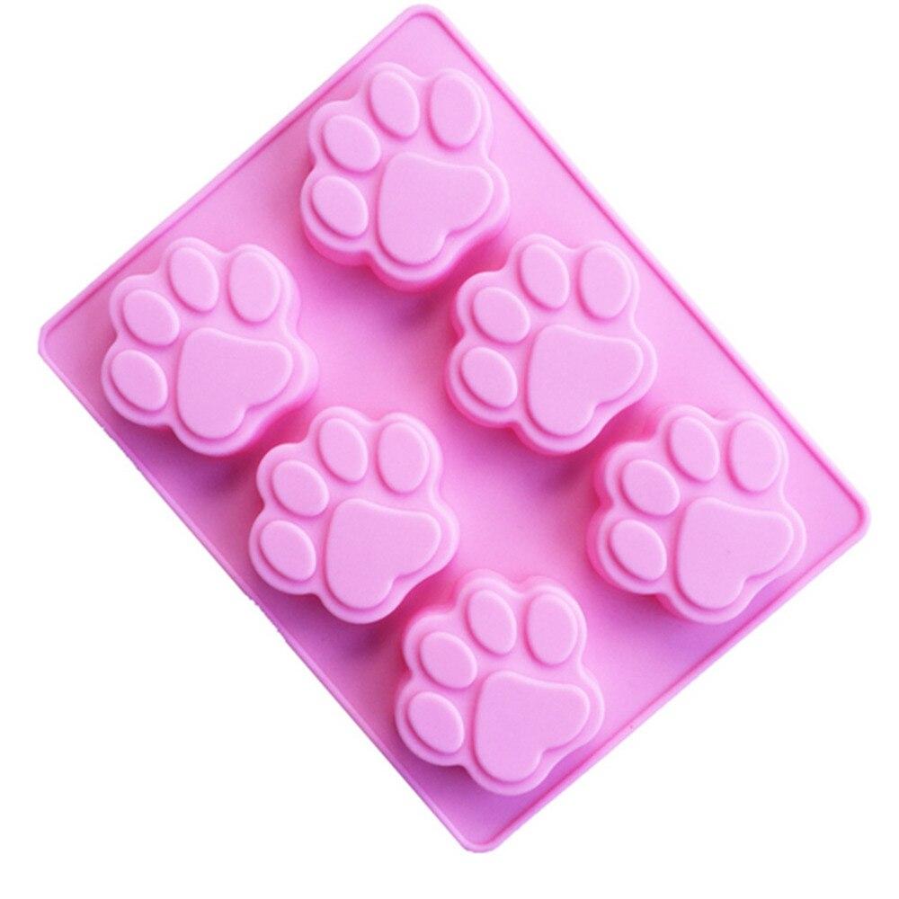 Zemākā cena Cat Paw Drukāt Bakeware Silikona pelējuma šokolādes cepumi Candy ziepes sveķu vaska pelējuma kūka Dekorēšanas rīki JSX