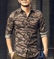 Повседневная мужчины рубашка Камуфляж 2016 Осень Мужчины С Длинным Рукавом хлопок рубашка военный homme роскошный camisa социальной masculina Тонкий