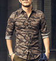 Camisa de los hombres de Camuflaje ocasional 2016 Del Otoño de Los Hombres de algodón de Manga Larga Camisa de vestir camisa masculina sociales homme lujo militar Delgado