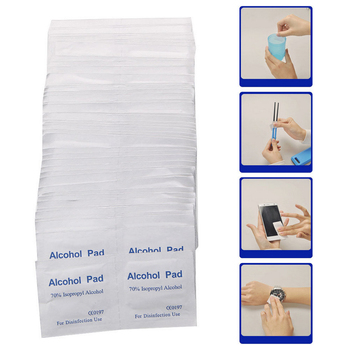 100pcs/Box Portable Alcohol Swabs Pads Wipes Antiseptic Cleanser Cleaning Sterilization First Aid Home Makeup Antibacterial Tool 1