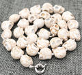 FREE SHIPPING>>>@@ New 10x14mm White Turquoise Carved Skull Head Beads Mala Necklace 18 WW