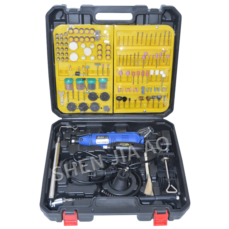 1pc Double electric grinding set hand held miniature electric drill engraving woodworking polishing machine