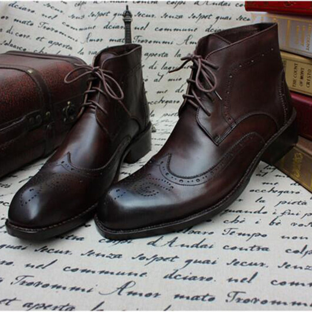 9ac566f5363b3 Sipriks calf leather dark brown brogue martin boots mens classic lace up  ankle boot square toe wingtip casual goodyear welted