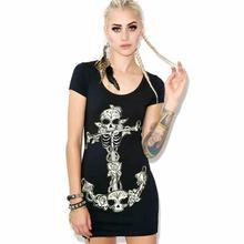 Punk Rock  Long Shirt Dark Black Cross Skull Print Short Sleeve Dress Women Street Fashion Mini Gothic Dresses
