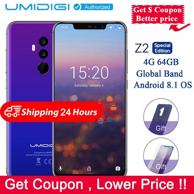 "UMIDIGI Z2 SE Special Edition Phone Global 4G 6.2"" Full Screen Helio P23 4G 64GB Big Aperture Camera Android 8.1 4G Smartphone"