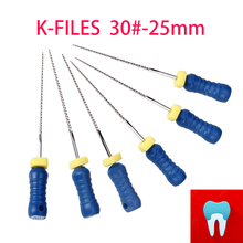 6pcs/pack 30#-25mm Dental K Files Root Canal Endo Dentist Tools Hand Stainless Steel Dentistry Lab