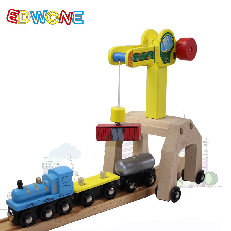 2018 Hot Sale EDWONE Magnetic Wooden Crane Parts With One Carriage Kids Educational Railway Diecast Toys For Chidlren