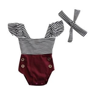 Summer Graceful Hot New Sale Fashion Newborn Baby Girls Romper Jumpsuit Infant Striped Patchwork Bodysuit Clothes Outfits Set(China)