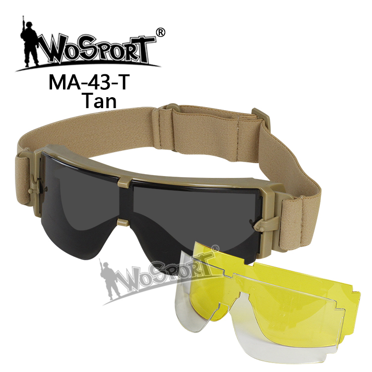 WoSporT Tactical USMC X800 Goggle Hunting Military Wind Dust Protection Glasses 3 Lens Outdoor Hiking Sunglass