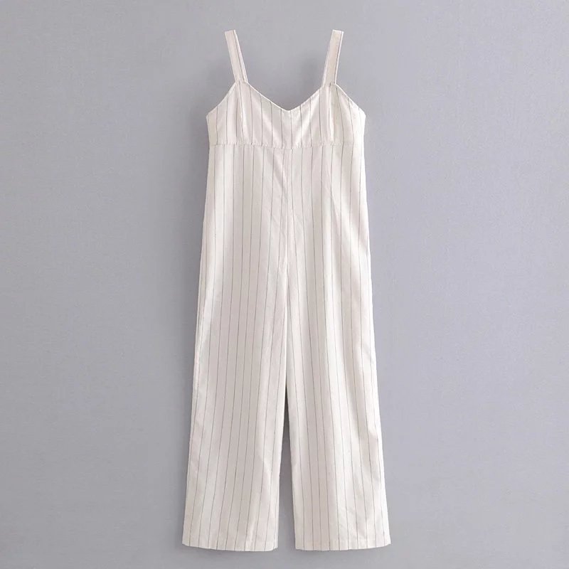 Klacwaya Women Backless Long Striped Jumpsuit Striped Bandage Sleeveless Sexy Button Romper High Waist High Waist   Wide     Leg     Pant