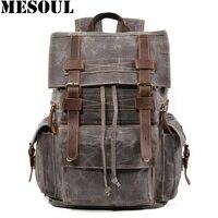 Vintage Backpack Men Bag Canvas Waterproof School Laptop Backpacks Male Large Capacity Travel Rucksack Cow Leather Bagpack