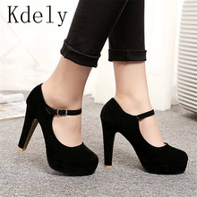 2019 Sexy Mary Janes New Women OL high heels Black Flock Women Pumps Female Platform Winter Thick with Autumn Round Single Shoes size 4 34 pumps footwear japanese strap square toe platform ladies high heels mary janes women shoes black thick 3 inch female