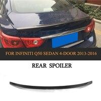 Car Rear Trunk Wing Spoiler for Infiniti Q50 Sedan 4 Door 2014 2017 Sport And Standard Car Cover Carbon Fiber
