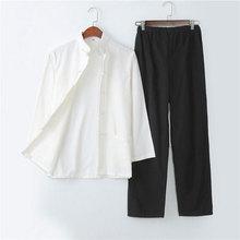 Umorden натуральный хлопок Традиционный китайский Тан костюм с длинным рукавом комплект Кунг фу одежда Униформа рубашка пальто брюки для мужчин