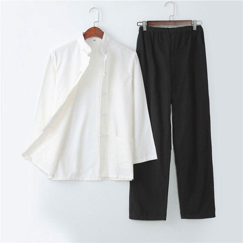 Umorden pur coton traditionnel chinois Tang costume à manches longues ensemble Kung Fu vêtements uniforme chemise manteau pantalon pour hommes