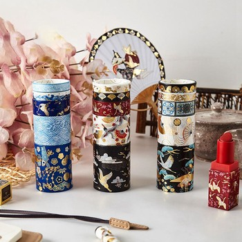 5 Rolls/set Tape Suit Ancient Style Small Fresh Sticker Gold-stamped Handbook Adhesive Paper Decoration School Office Stationery