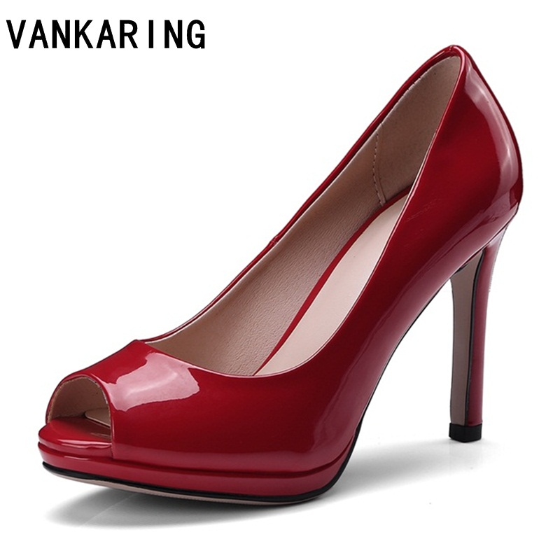 Sandali Pompe Vankaring Sexy Black Toe blue Alto Col Piattaforma Marca tacco Di Scarpe Nero red Tacco Temperamento Peep Super Vestito Nuove Donne qUUErw4t