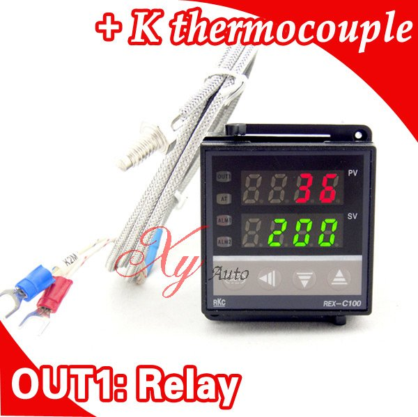 Dual Digital RKC PID Temperature Controller REX-C100 with Sensor Thermocouple K, Relay Output rex c100 digital pid temperature control controller thermostat thermometer relay output