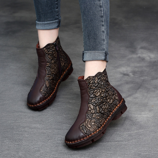 f6636780680a Women Genuine Leather Martin Boots Embroidery Low Heels Winter Shoes For  Women Soft Leather Ankle Boots Handmade Retro Shoes