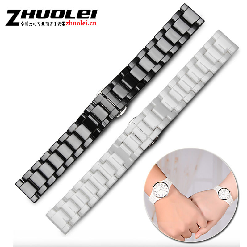new style High quality Ceramic black white watchbands 20mm 22mm Strap flat End watch accessories Fashion bracelets 20mm 22mm ceramic