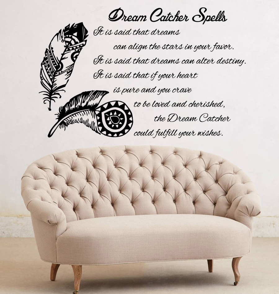 Feather quotes wall vinyl stickers dream catcher spell everyone feather quotes wall vinyl stickers dream catcher spell everyone can have a dream bedroom wall murals home decals decor s 574 in underwear from mother amipublicfo Gallery