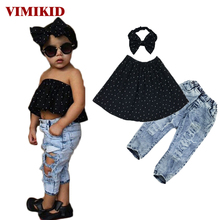 Summer 2017 Kids Fashion Girls Clothing Sets 3 pcs Black Blouse Top hole Casual Jeans Hair